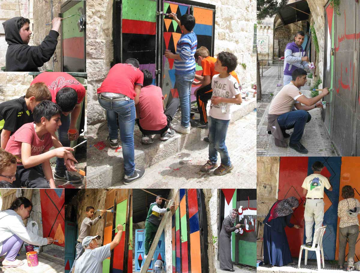 People working together to transform the old city square in Nablus