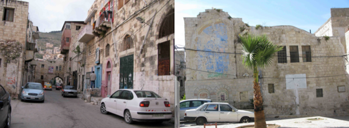 (Left) A street in the old city, (Right) The main wall in the square containing in the lower portion memorials of people who were killed during the 2nd intifada and two plastered areas